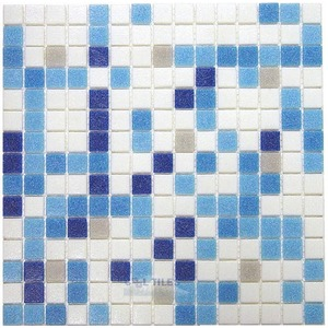 "HotGlass - Classic CartGlass Blended 3/4"" Glass Sky Blue Blend 12 7/8"" x 12 7/8"" Mesh Backed Sheet"