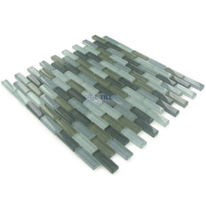 "Illusion Glass Tile - 5/8"" x 1 7/8"" Brick Glass Mosaic Tile in Stormy Skys Clear"
