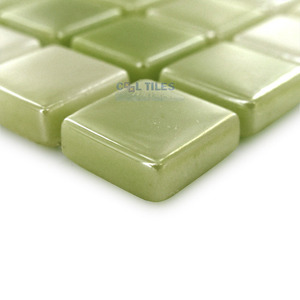 "Mosaic Glass Tiles by Vidrepur - Lux Collection 1/2"" x 1/2"" Recycled Glass Tile on 12"" x 12"" Mesh Backed Sheet in Lemon Lime"