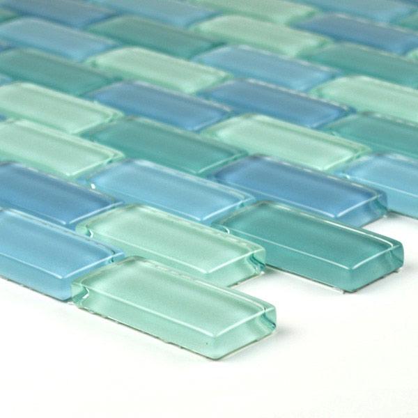Aqua Mosaics 1 X 2 Brick Crystal Mosaic In Turquoise