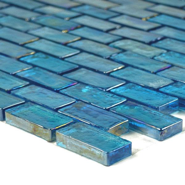 Aqua Mosaics 1 X 2 Brick Poured Mosaic In Turquoise