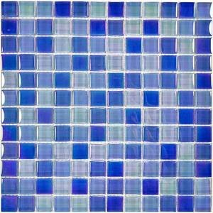 "Aqua Mosaics - 1"" x 1"" Crystal Iridescent Mosaic in Bright Blue Blend"
