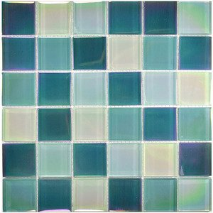 "Aqua Mosaics - 2"" x 2"" Crystal Iridescent Mosaic in Sea Green Blend"