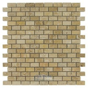 "Clear View - 5/8"" x 1 1/4"" Brick in Polished Light Travertine"