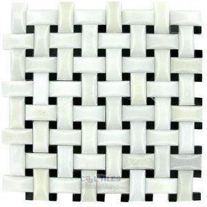 "Clear View - Basketweave Pillowed Tile in Thassos White / Roudy Black Dot Polished 12"" x 12"" Mesh Backed Sheet"