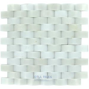 "Clear View - 1"" x 2"" Pillowed Tile in Thassos White Polished 12"" x 12"" Mesh Backed Sheet"