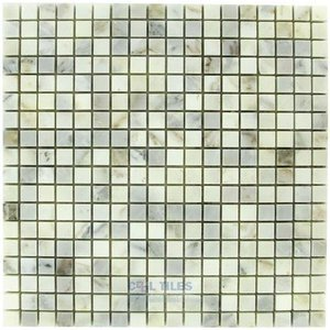 "Clear View - Small Mosaic Tile Calcutta Polished 12"" x 12"" Mesh Backed Sheet"
