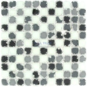 "Clear View - 1"" Color Blocks Black and White Frosted Tumbled Mix 12"" x 12"" Mesh Backed Sheet"