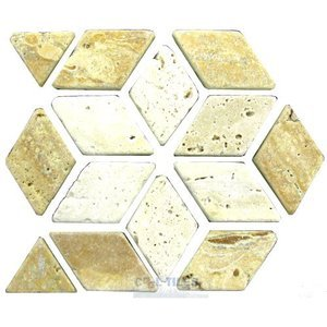 "Clear View - Marble Listello Tile - Simple Tile Liner Tumbled Gold and Classic Mix 4"" x 12"""