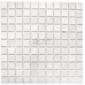 "Clear View - 1"" x 1"" Glass Mosaic Tile Pearl 12"" x 12"" Mesh Backed Sheet"