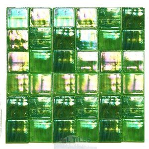 "Diamond Tech Glass Tiles - Stained Glass 2"" Glass Tiles in Bright Green Luminous Film Faced Sheets"