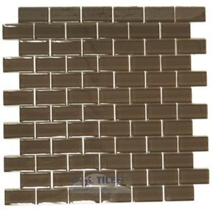 "Diamond Tech Glass Tiles - Dimensions Brown 1"" x 2"" Brick Mesh Mounted Sheets"