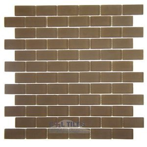 "Diamond Tech Glass Tiles - Dimensions Brown Frost 1"" x 2"" Brick Mesh Mounted Sheets"