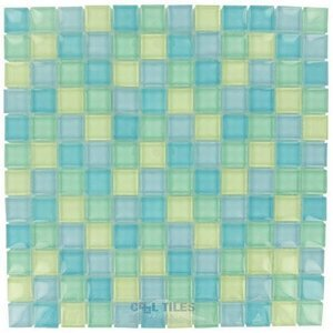 "Diamond Tech Glass Tiles - Dimensions Mix 1"" x 1"" Mountain Air Mesh Mounted Tile"