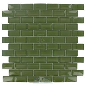 "Diamond Tech Glass Tiles - Dimensions 1"" x 2"" Army Mesh Mounted Tile"