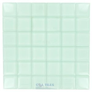 "Diamond Tech Glass Tiles - Dimensions 2"" x 2"" White Mesh Mounted Tile"