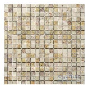 "Stone Tiles by  Diamond Tech Glass Tiles - Mosaic Solid 5/8"" Squares in Amber Rouge Polished Mesh Mounted Sheets"