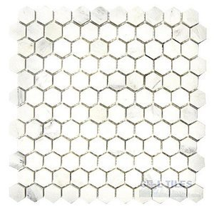 Stone Tiles by  Diamond Tech Glass Tiles - Mosaic Hexagon in White Statuary Polished Mesh Mounted Sheets