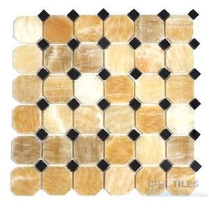 Stone Tiles by  Diamond Tech Glass Tiles - Mosaic Octagon & Dots in Honey Onyx / Black Mesh Mounted Sheets