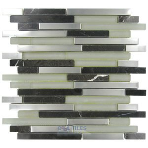 Diamond Tech Glass Tiles - Impact -Staggered Glass and Metal Mosaic Tile in French Roast Metal