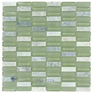"Diamond Tech Glass Tiles - Impact -5/8"" x 1 7/8"" Stacked Glass Mosaic Tile in Green Tea"