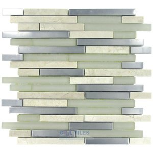 Diamond Tech Glass Tiles - Impact -Staggered Glass and Metal Mosaic Tile in Cirrus Metal