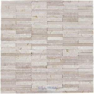 Stone Tiles by Diamond Tech Glass Tiles - Contours - Ionic Polished & Chiseled Linear Mosaic in Crema Marfil