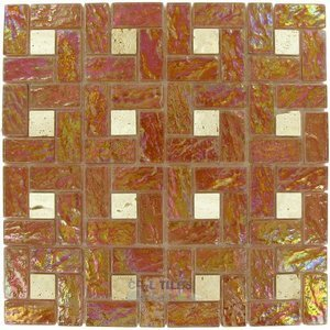 "Elida Ceramica - Emperial Nature - Glass & Stone - 12""x12"" Glass Mosaic in Glass Eye"