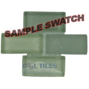 "Renaissance Tile Samples - Free Flow Crystal 7/8"" x 1 7/8"" Brick Glass Sample in Spa"