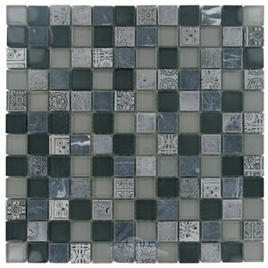 "Distinctive Glass Tiles - 11 3/4"" x 11 3/4"" Glass & Stone Mosaic in Atlantis"