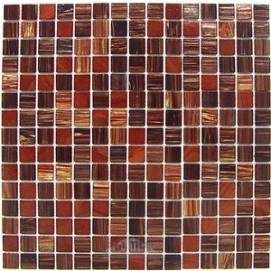 "HotGlass - Aventurine Blended 3/4"" Glass Tile in Egyptian Red Blend 12 7/8"" x 12 7/8"" Mesh Backed Sheet"