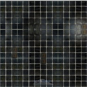 "HotGlass - Tivoli 3/4"" Glass Tile in Black Gold Blend 12 7/8"" x 12 7/8"" Mesh Backed Sheet"
