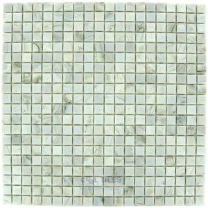 "HotGlass - Calliope 5/8""  Glass Tile in Ivory 12 3/4"" x 12 3/4"" Mesh Backed Sheet"