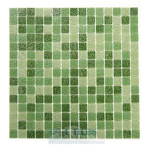 "HotGlass - Classic CartGlass Blended 3/4"" Glass Tile in Ivy Blend 12 7/8"" x 12 7/8"" Mesh Backed Sheet"