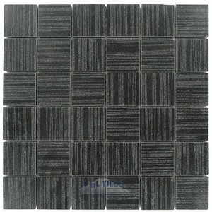 "Optimal Tile - 2"" x 2"" Porcelain Forest (Glazed) Mosaic in Black"