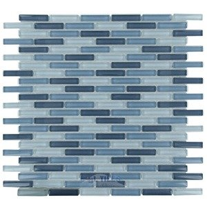 "Optimal Tile - 3/8"" x 1 7/8"" Slim Glass Mosaic in Sky Blue Blend"