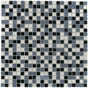 "Optimal Tile - 7/16"" x 7/16"" Frosted Glass Mosaic in Black / Gray Mix"