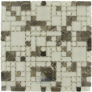 Optimal Tile - Versailles Glass and Emperador Stone Mosaic in Earth