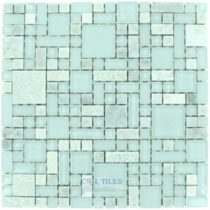Optimal Tile - Versailles Glass and Ming Green Stone Mosaic in Ice