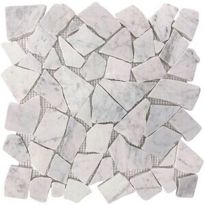 Natural Stone Tile by Spa Tile - Carrara White Stone Mesh Backed Sheet in Frozen White