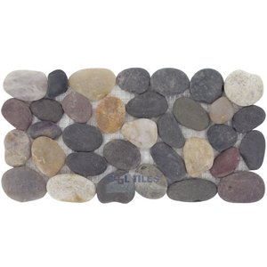 Natural Pebble Tile by Spa Tile - Tumbled Pebble Border Tile Mesh Backed Sheet in Rio