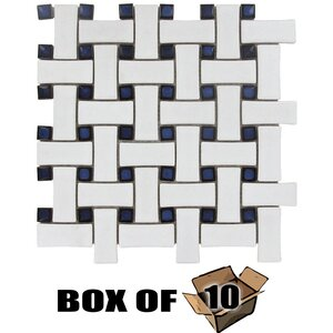 Stellar Tile - Basketweave - Basketweave Porcelain Mosaic Tile in White & Cobalt