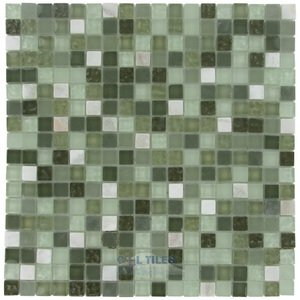 "Stellar Tile - Tessera - 5/8"" x 5/8"" Glass & Stone Mosaic Tile in Emerald Isle"