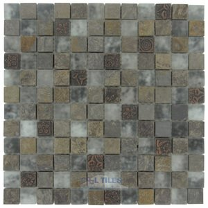 "Stellar Tile - Cathedral - 1"" x 1"" Glass & Stone Mosaic Tile in Cologne"