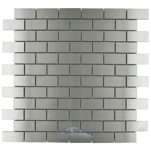 "Stellar Tile - Alloy - 1"" x 2"" Mosaic Tile in Stainless Steel"