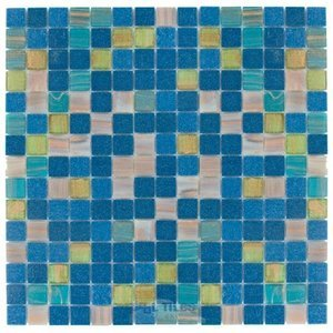 "Vicenza Mosaico Glass Tiles USA- 3/4"" Blends Film Faced Sheets in Intelligence"