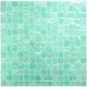 "Vicenza Mosaico Glass Tiles USA - Iride 3/4"" Glass Film-Faced Sheets in Seaglass"