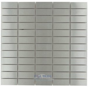"Illusion Glass Tile - Metals - 1"" x 2 1/2"" Straight Stack Mosaic in Brushed Stainless Steel"