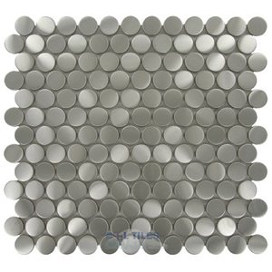 Illusion Glass Tile - Metals - Nickels Mosaic in Brushed Stainless Steel