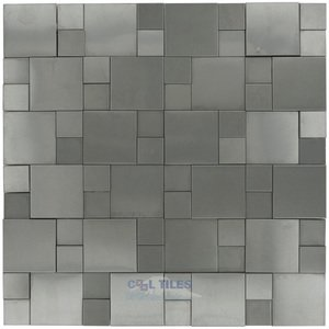 Illusion Glass Tile - Metals - 3D Versailles Mosaic in Brushed Stainless Steel